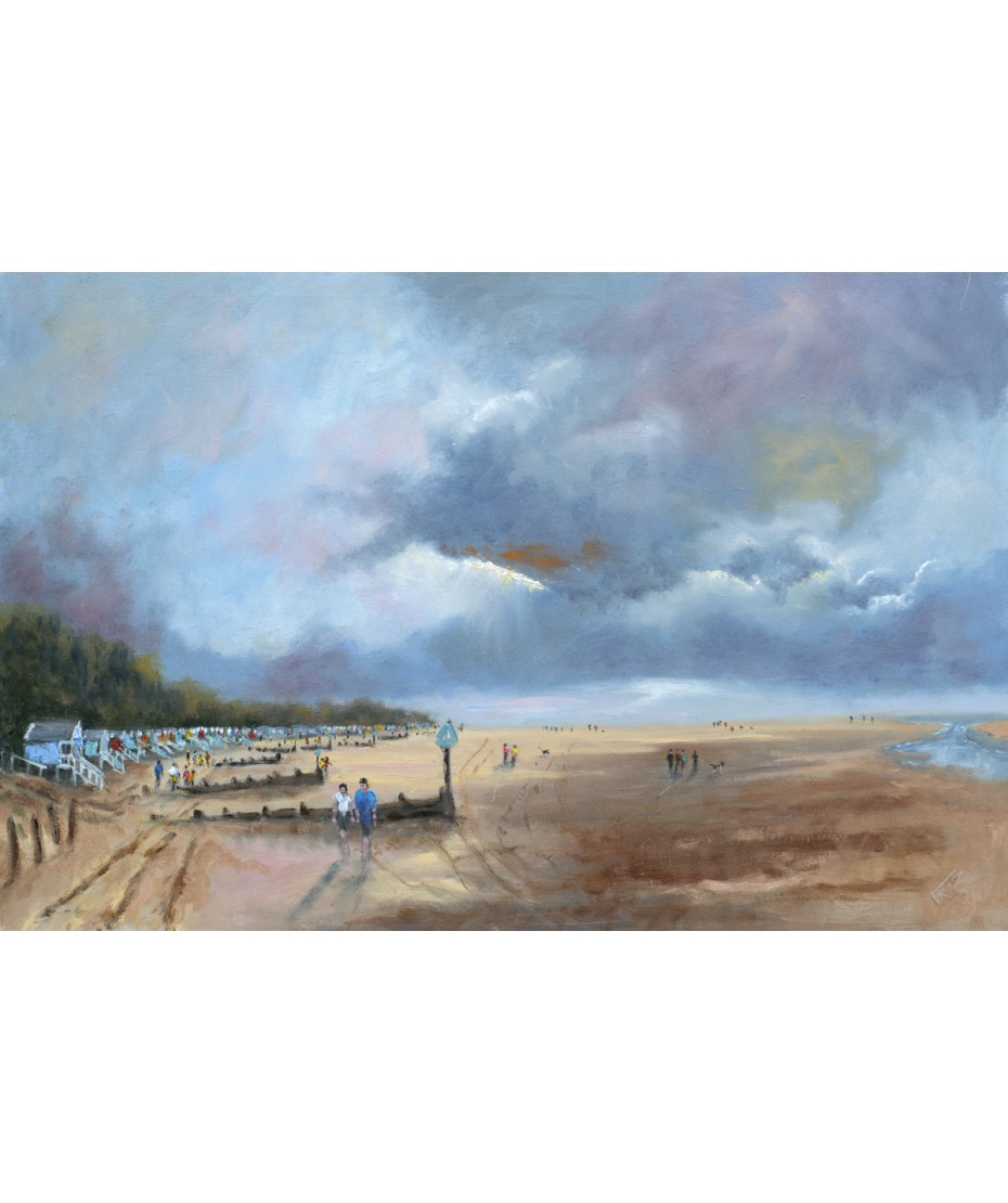 Beach Huts at Wells Next The Sea -  Original - Oils on Canvas Board  24 x 16""